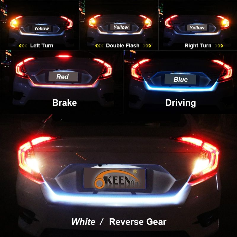 OKEEN yellow/red/blue/white 150cm Rear LED Trunk dynamic turn signal light strip flexible tailgate luggage led warnning light