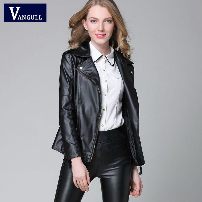 Élégant Printemps Automne Veste En Cuir 2018 féminin Femmes Court Noir En Cuir PU ROUGE Manteau Dames Mince Moto Jaqueta Couroie