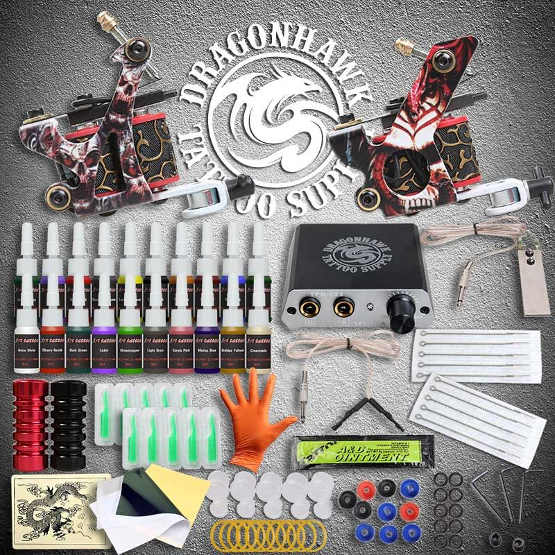Beginner Tattoo Kits 2 Guns Machines 20 Ink Sets Power Supply Needle Pedal Tips D175GD