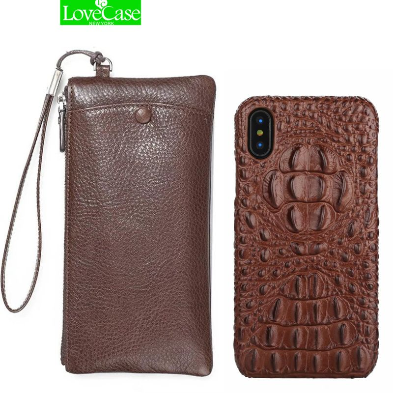 LoveCase Real Leather Wallet + Back Cover For Phone X 10 / 8Plus Luxury 3D Genuine Leather Back Cover For phone X case bag