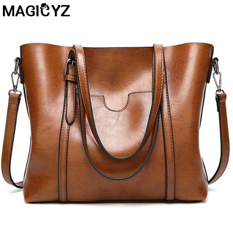 Women bag Oil wax Women's Leather <font><b>Handbags</b></font> Luxury Lady Hand Bags With Purse Pocket Women messenger bag Big Tote Sac Bolsos Mujer