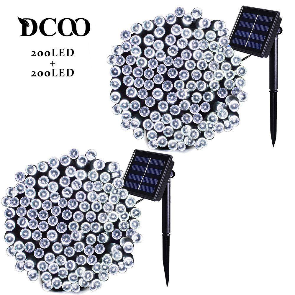 Dcoo 2 pièces LED à alimentation solaire guirlandes lumineuses 8 Modes 72ft 22m 200 LED s extérieur étanche chaîne de noël fête lumières extérieur