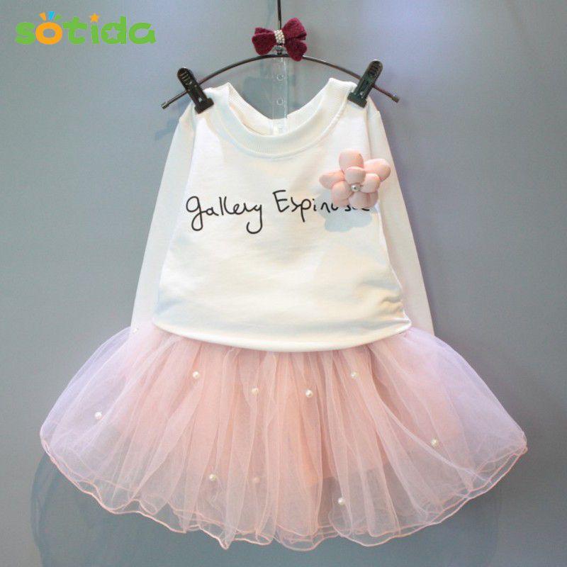 Filles Robes 2017New belle filles tee-shirt blanc et rose robe avec strass vêtements set enfants automne vêtements pour enfants ensemble