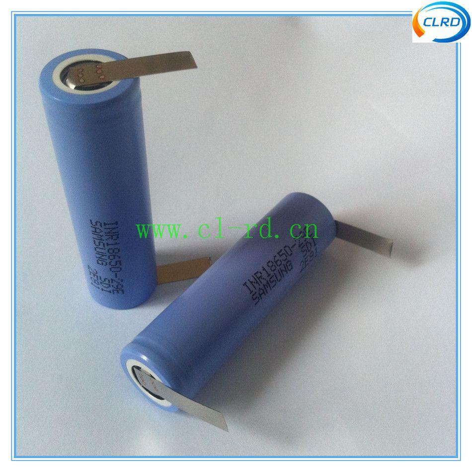 2 pcs/lot 2900 mah 10A taux de décharge en continu 18650 batterie cellules avec nickel onglets pour aspirateur