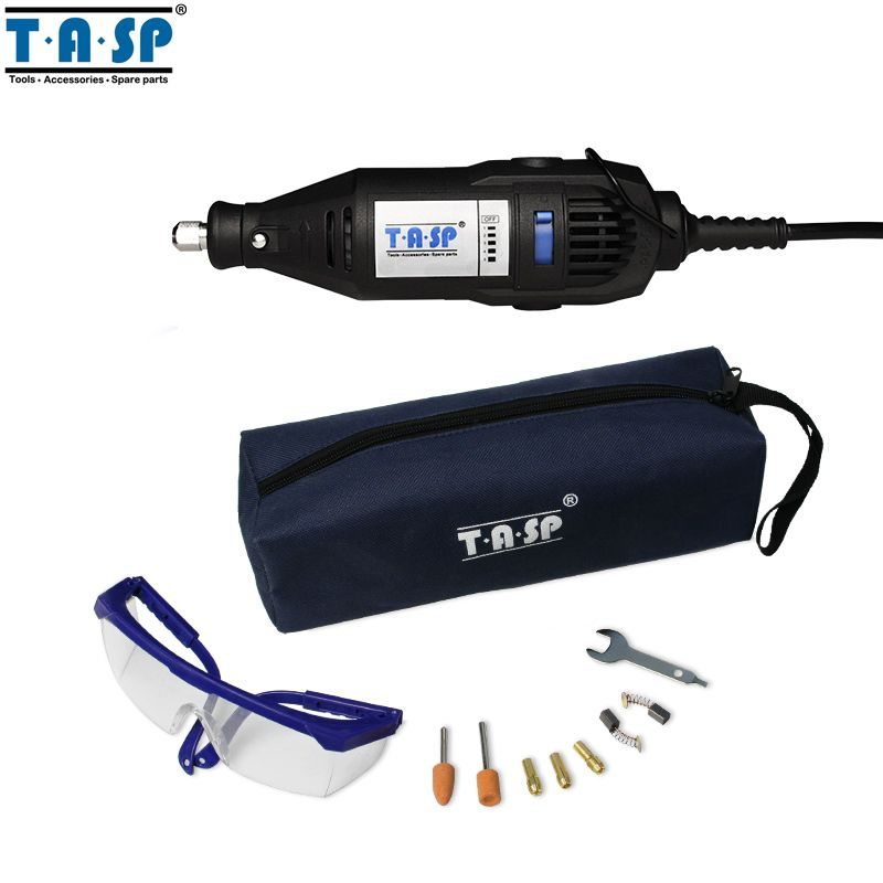 TASP MMD002 220V 130W Electric Mini Drill Grinder Rotary Engraver Tool Set with Safety Glasses and Accessories