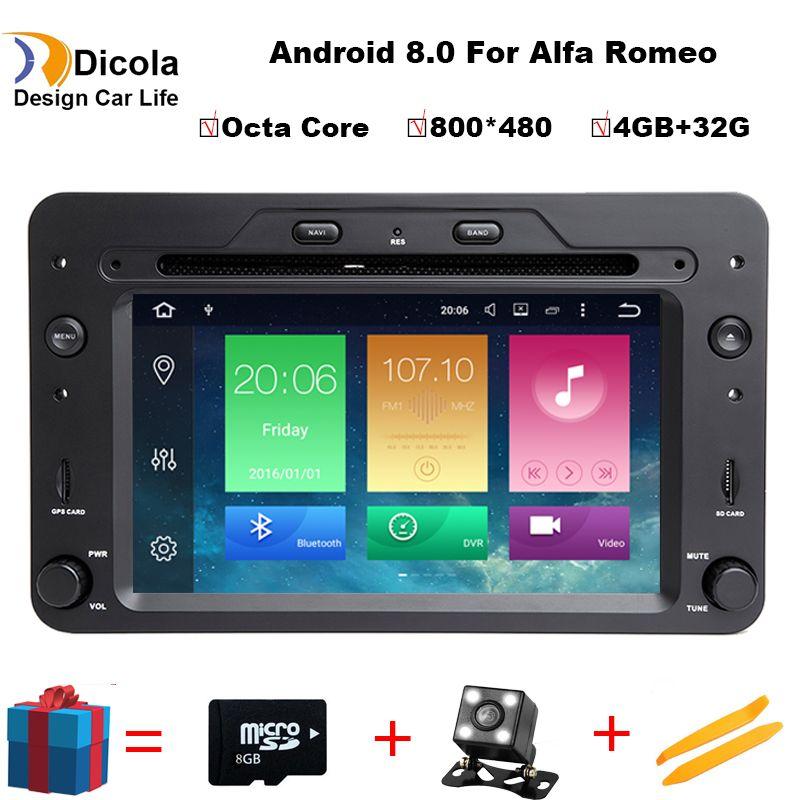 Octa Core 4G+32G ROM Android 8.0 Car DVD GPS for Alfa Romeo 159 Sportwagon Spider Brera with BT Wifi Radio;support 4G DVR DAB+