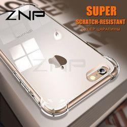 Znp lujo anti-golpe de silicona caso para iPhone 6 7 8 más x Slim transparente Soft TPU teléfono cubierta para iPhone x 10 8 7 6 6 s caso