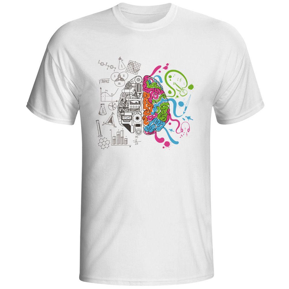 Gauche Et Droit Du Cerveau T Shirt Design Inspiré Par Geek T-shirt Style Cool Mode Casual Nouveauté Drôle T-shirt Hommes Femmes Tee