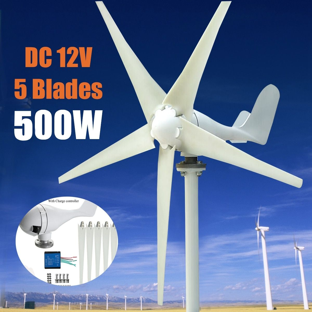 Max 600W Wind Turbine Generator DC 12V/24V 5 Blade Power Supply with Charge Controller for Home Hybrid streetlight use