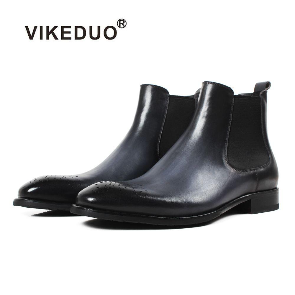 Vikeduo 2019 Neue Mens Chelsea Stiefel Patchwork Aushöhlen Schuhe Männer Echtes Leder Bota Masculina Solide Vintage Männlichen Schuh Botine