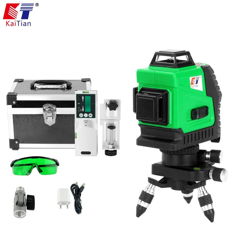 KaiTian Laser Level 3D Green 12Lines Receiver Self-Leveling 360 Horizontal 532nm Vertical Cross Livello Laser x Beam Line Levels