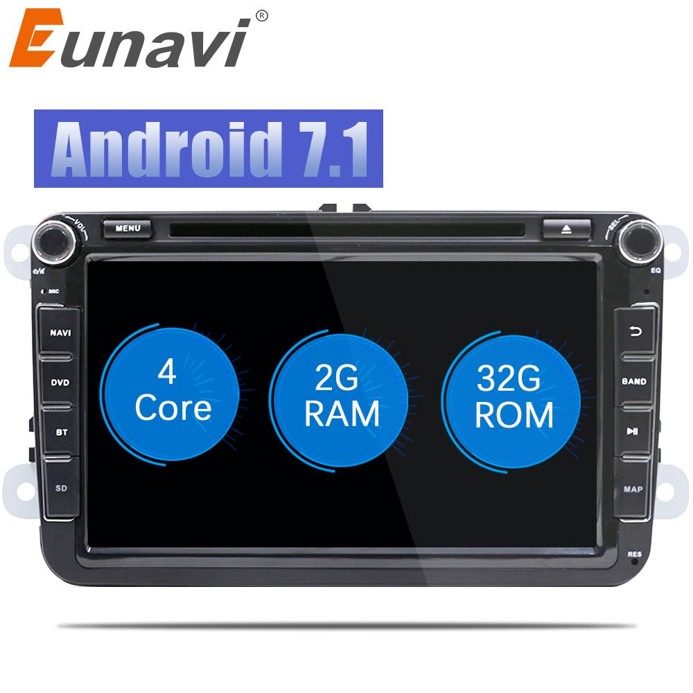 Eunavi 2 Din 8 inch Quad core Android 7.1 car dvd for VW Polo Jetta Tiguan passat b6 cc fabia mirror link wifi Radio CD in dash