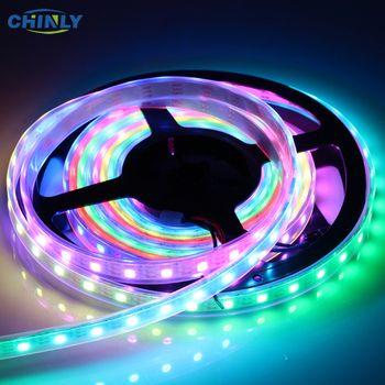 WS2812B LED Bande Individuellement Adressable RGB Smart Pixel Strip1m/4 m/5 m Noir/Blanc PCB WS2812 IC Étanche 5 V 30/60/144 led
