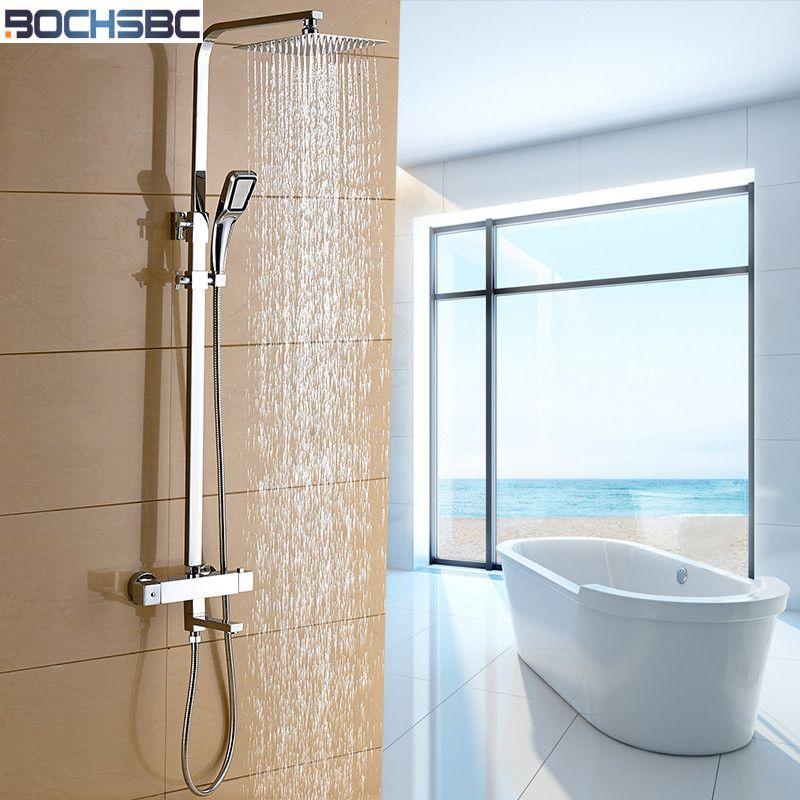 BOCHSBC ensemble de pommeau de douche thermostatique carré nouveau Chrome cuivre ensemble de douche chaude et froide cascade robinet de douche ensemble mélangeur de douche