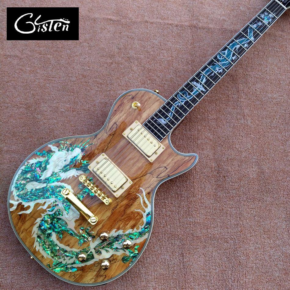 Neue hochwertige individuelle LP e-gitarre, Abalone Dinosaurier intarsien griffbrett & körper benutzerdefinierte LP e-gitarre, freies verschiffen
