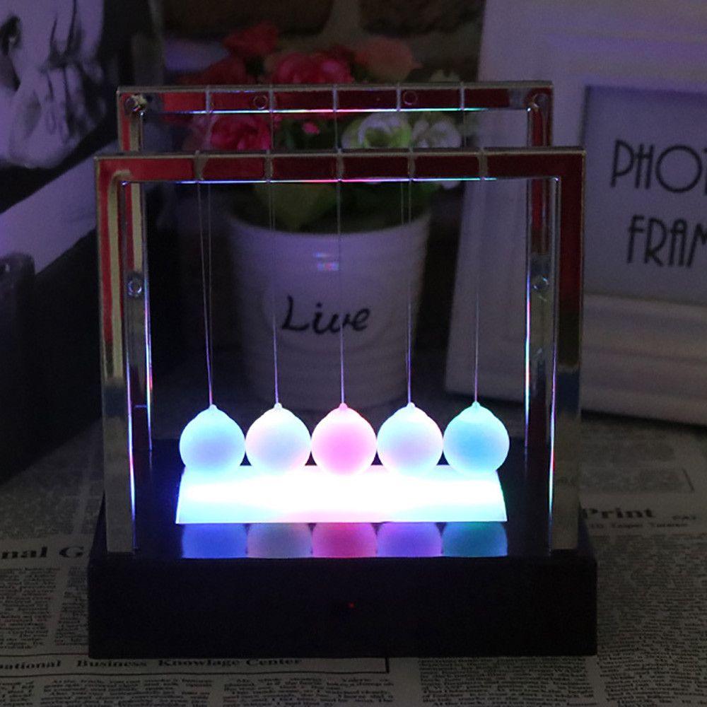 2018 newtons Cunas luz LED energía cinética Home Office ciencia descompresión Juguetes Decoración para el hogar juguete de escritorio x #