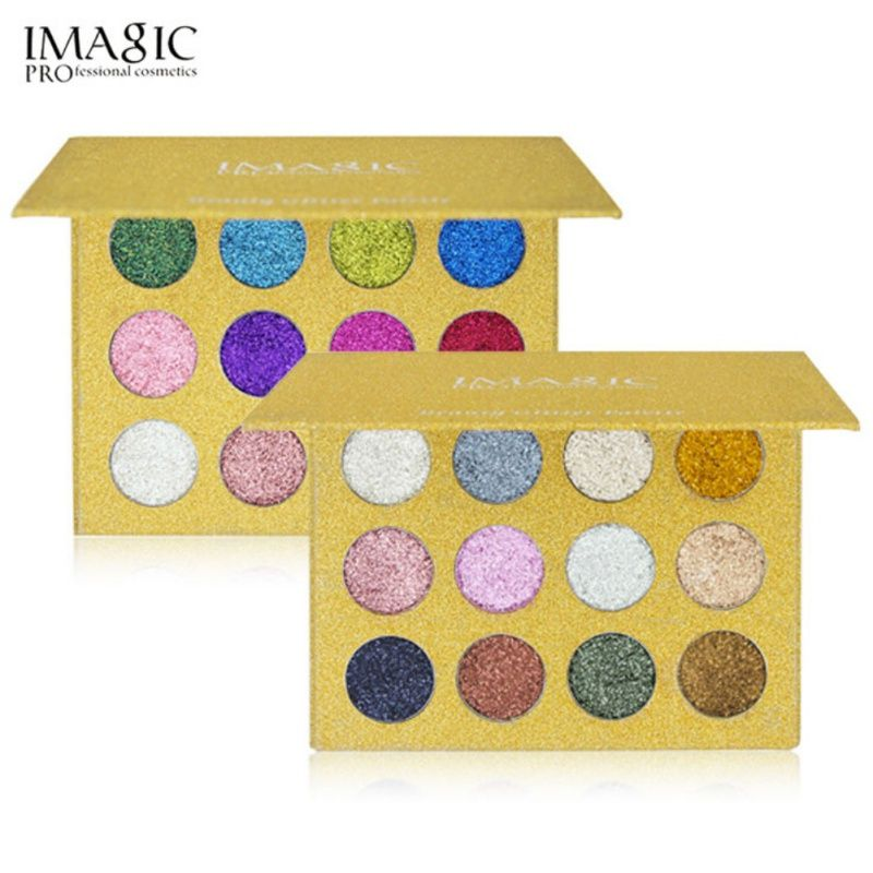 1pcs Professional Makeup Eyeshadow Palette Eye Shadow Bright Rainbow Pearl Glitters Eye Diamond Cosmetics 12 color