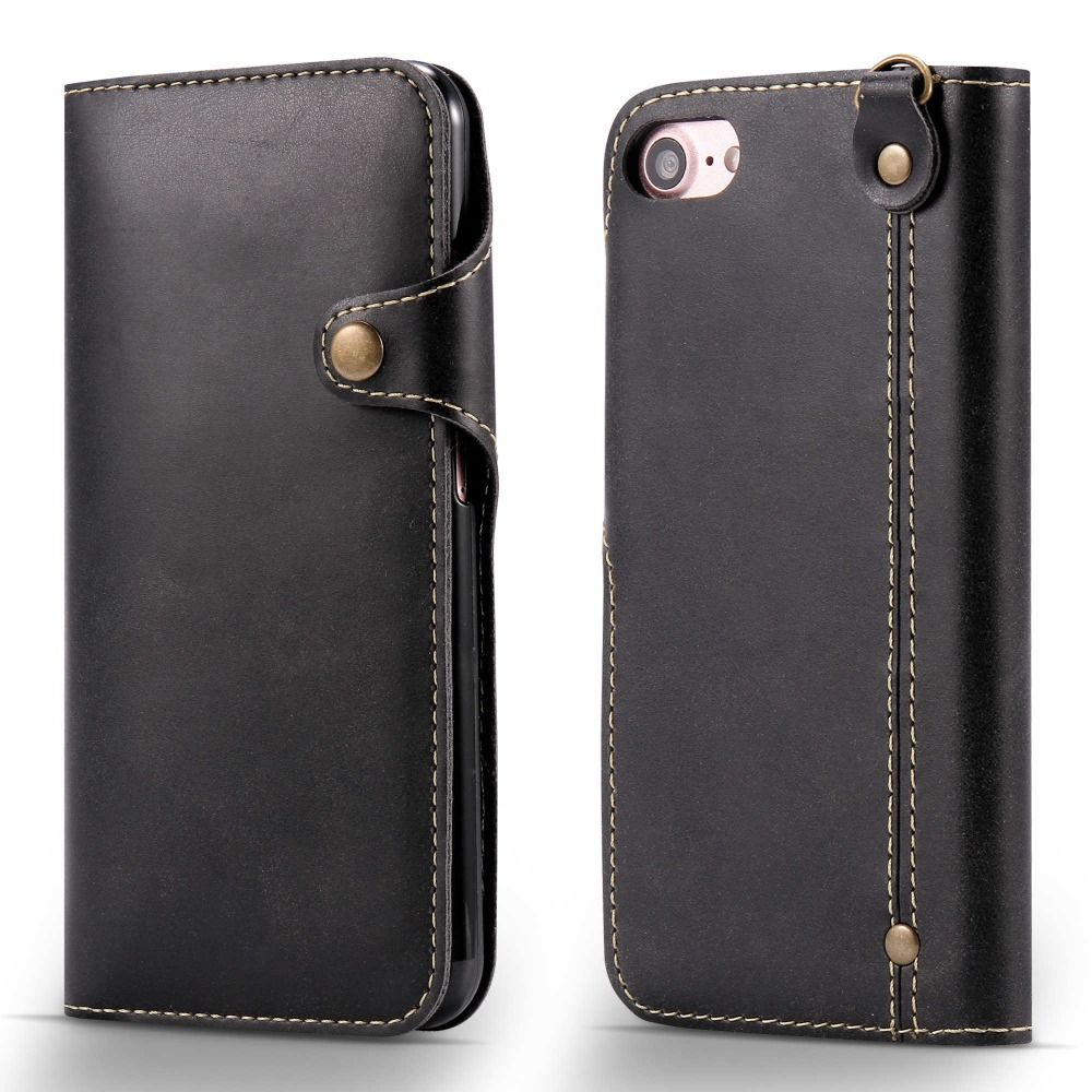 Flip Case For Apple iPhone 5 5s SE 6 6s 7 Plus Luxury PU Leather Wallet Cover With Buckle&Card Slots&Money Pocket&Wrist Strap