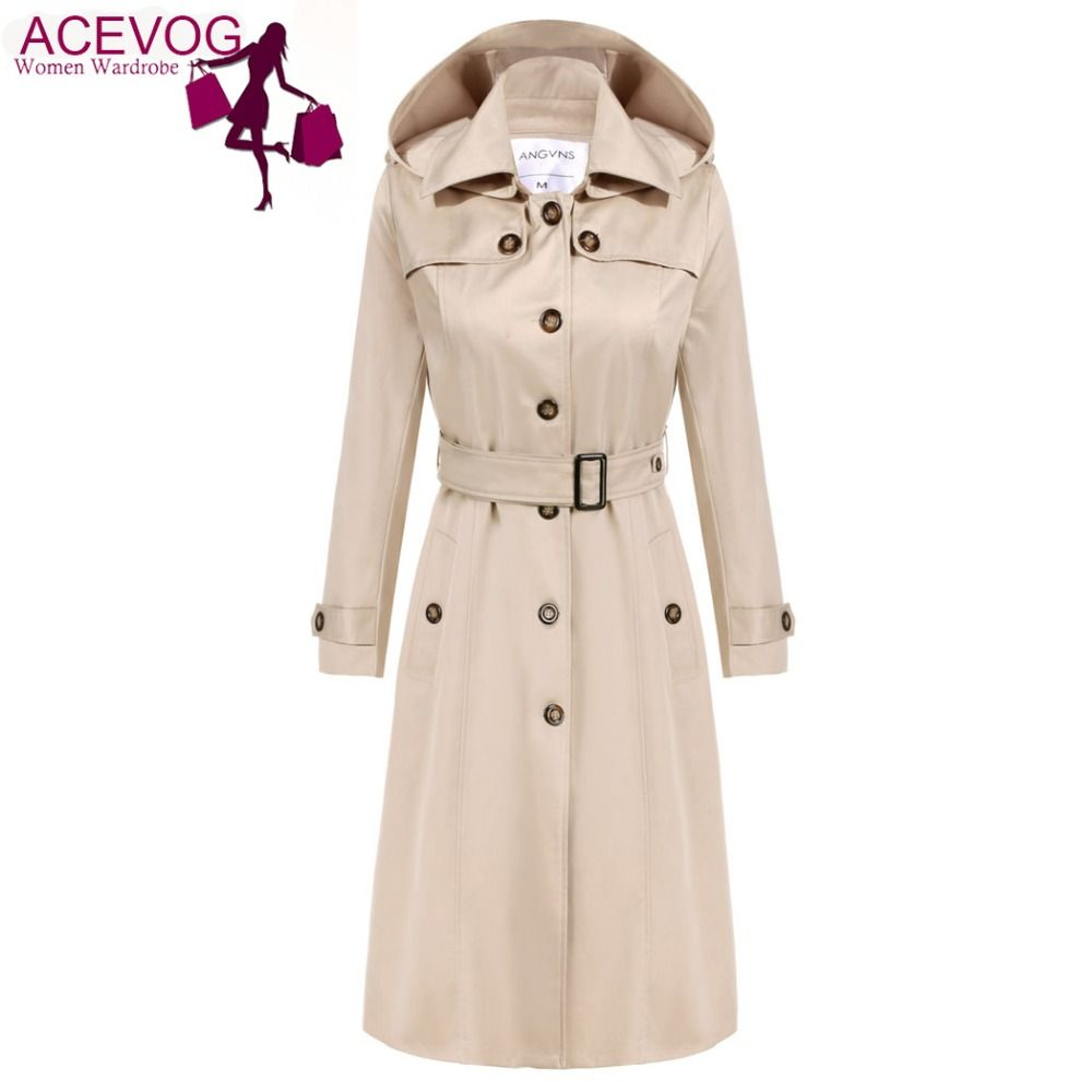 ACEVOG Trench Coat Women Long Hoodies OL Ladies Long Sleeve Single Breasted Autumn Winter Trench Windbreaker Outerwear