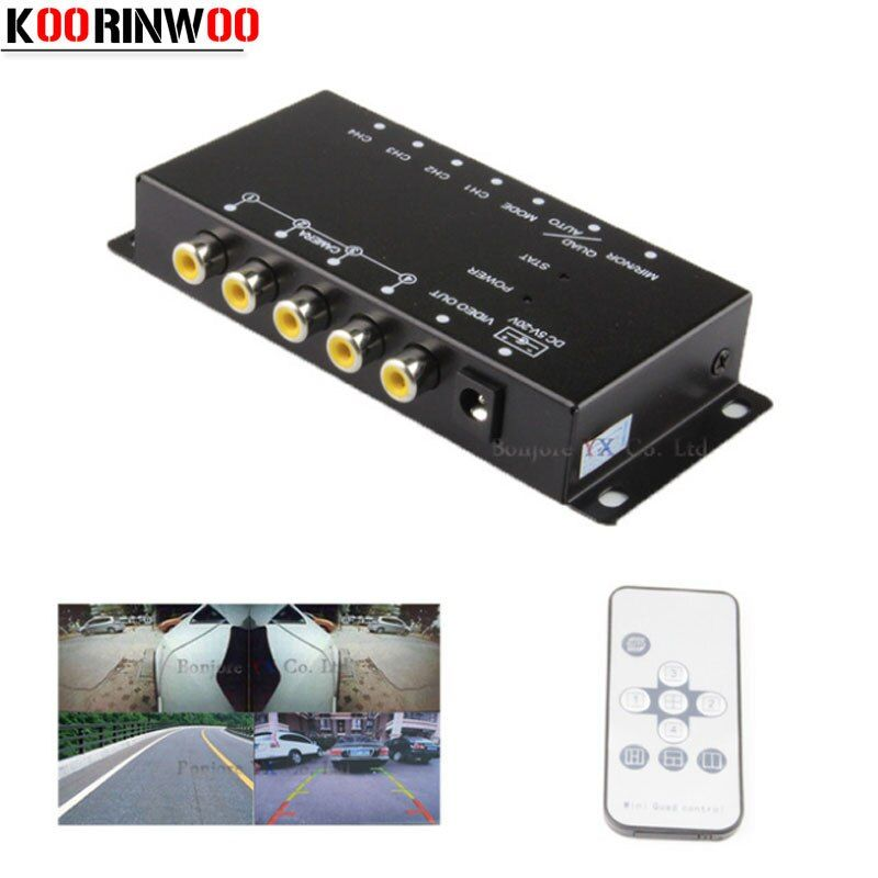 Koorinwoo Control IR For Parking Cameras Switch Image Combiner box for view Left Right view Front Backup Camera Rearview camera