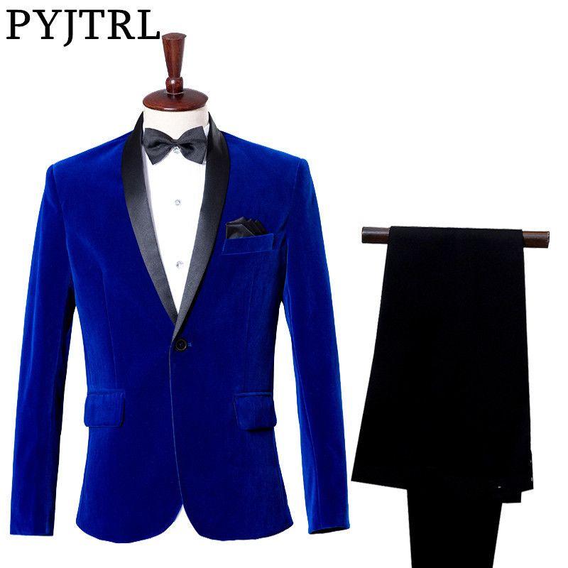 (Veste + pantalon) marié robe de smoking Costume Studio saphir bleu Royal velours Slim Costume de mariage costumes pour hommes