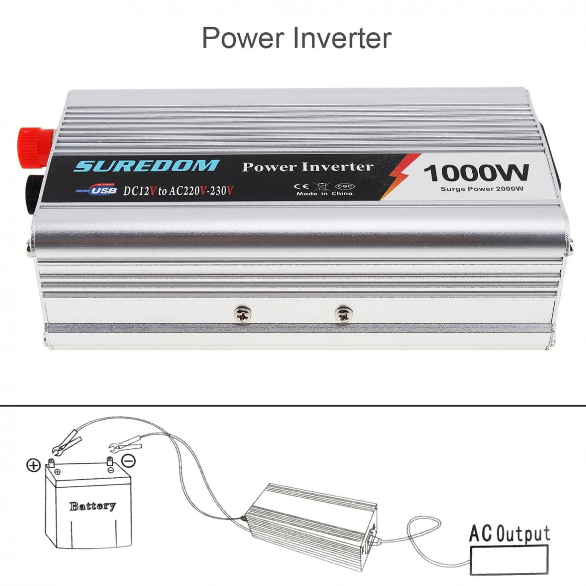 1000W Car Inverter DC 12V 24V to AC 220V 110V USB Auto Power Inverter Adapter Charger Voltage <font><b>Converter</b></font> Surge Power 2000W
