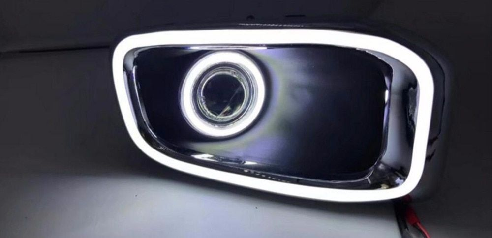 eOsuns COB Angel eye + LED daytime running light DRL + Fog Lamp with Projector Lens + turn signal for Jeep renegade