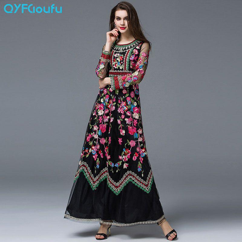 QYFCIOUFU haute qualité femmes Maxi robes conception piste à manches longues noir et blanc Roses Floral Tulle robe brodée