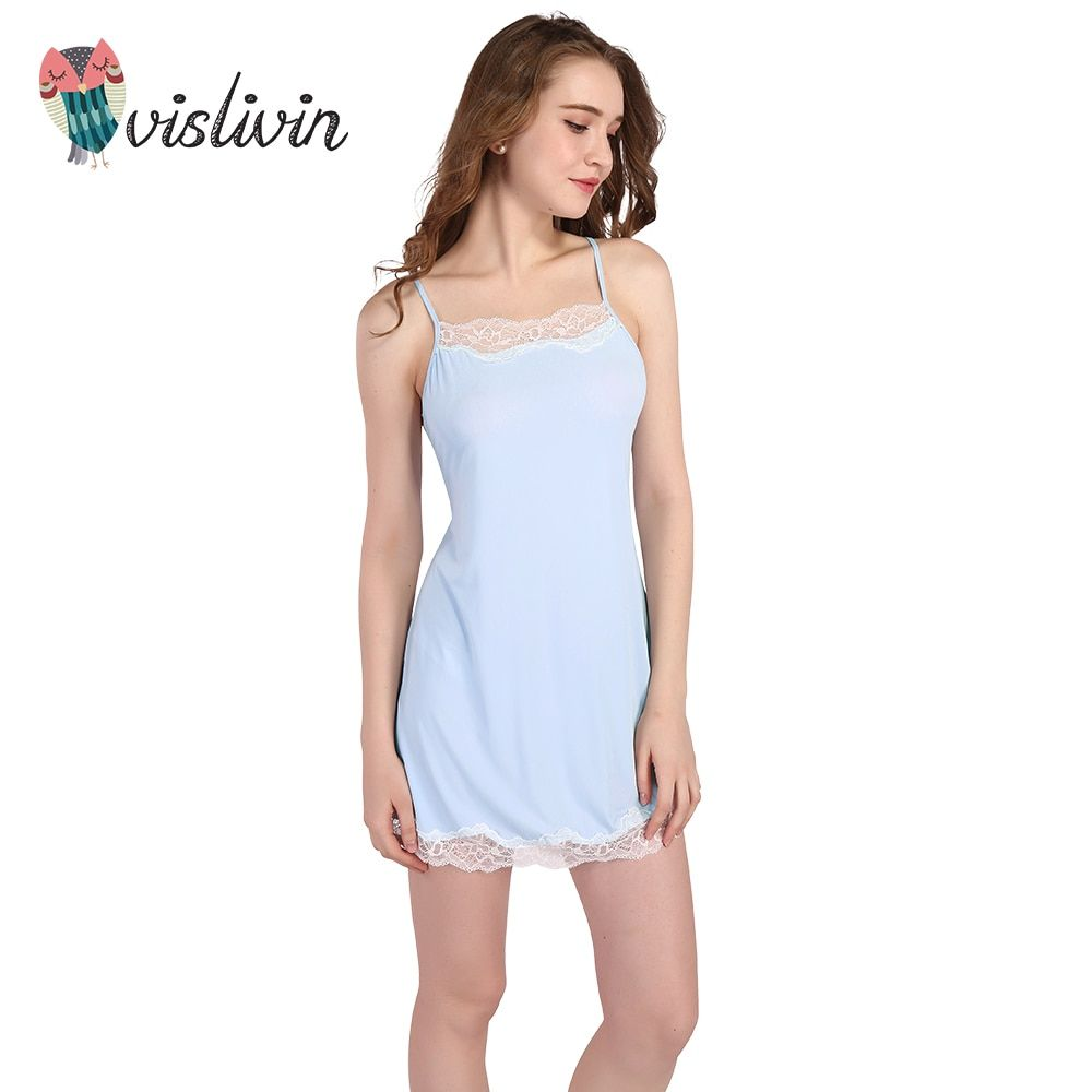 Vislivin Sexy Women Nightgown Lace Back Harness Design Hollow Lace Women Sleepwear Quality Faux Silk Lounge