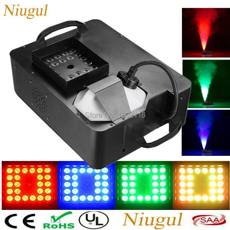 1500W RGB 3in1 (24pcs LED Lights) Smoke Machine ,Remote Wrieless Control/DMX512 Stage Fog Machine ,Pyro Vertical RGB LED Fogger