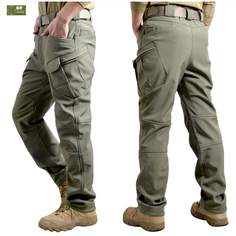 HANWILD Men Winter Waterproof Fishing Tactical Shark Skin SoftShell Hiking Military Pant Man Army Hunting <font><b>Camping</b></font> Trousers P44