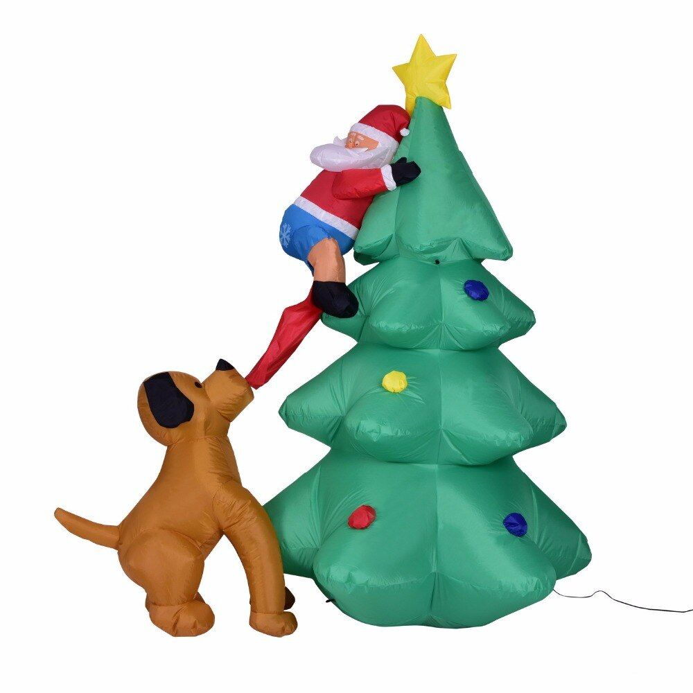 Giant 180cm inflatable Christmas tree Puppy bites Santa Claus climbing tree Blow Up Fun Toys Christmas Gift Halloween Party Prop