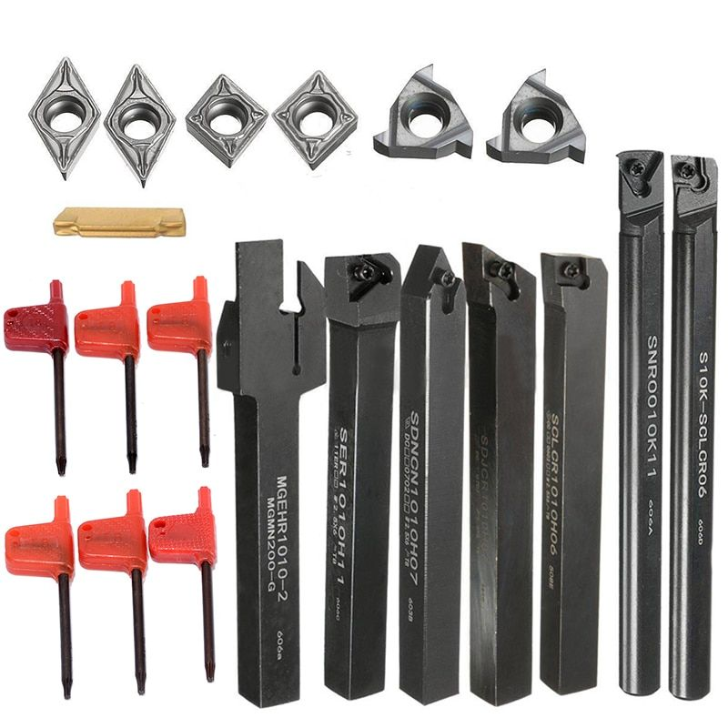 New 7pcs Lathe Turning Tool Holder Boring Bar + 7pcs DCMT/CCMT Carbide Inserts Blade For Home Tool