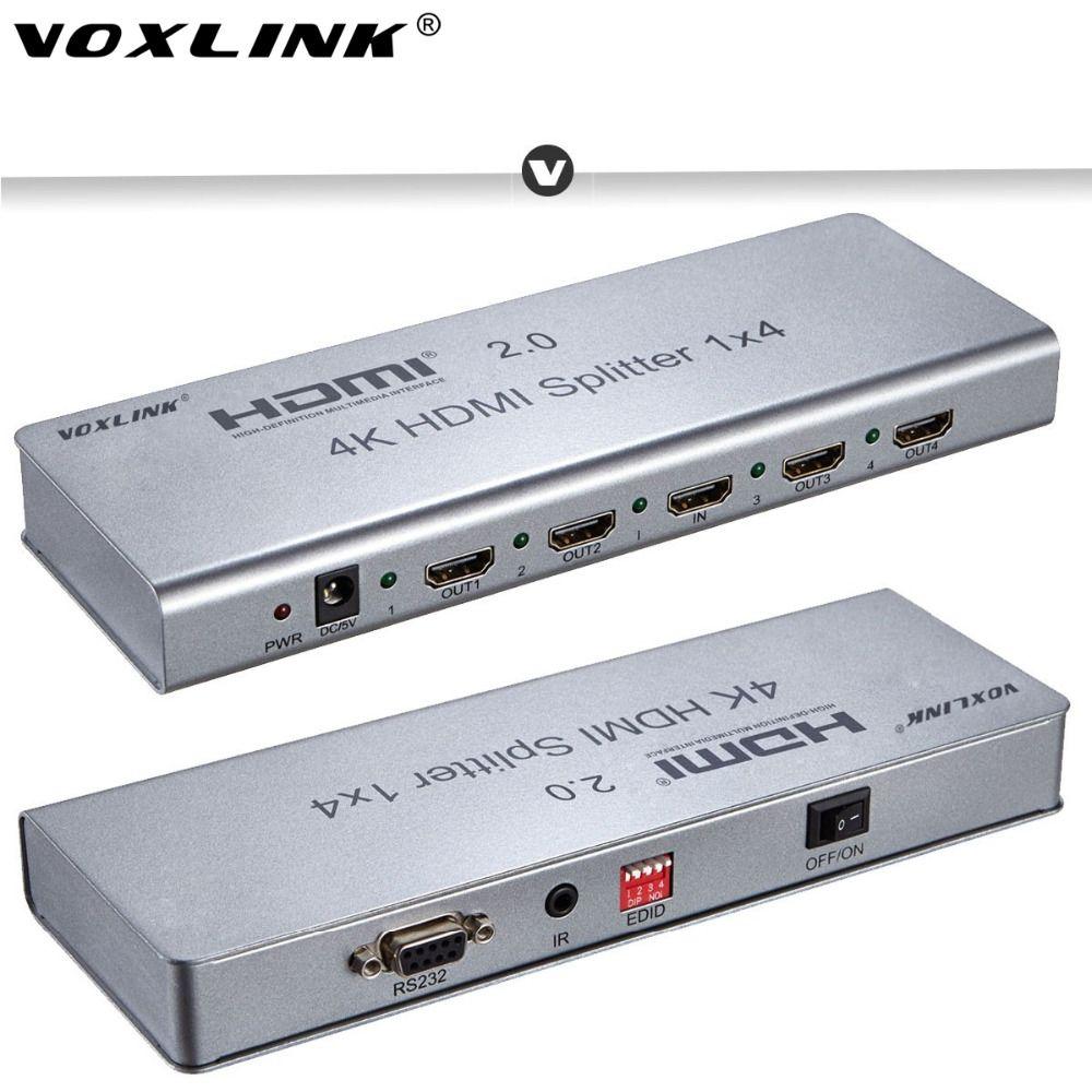 VOXLINK 1x2/1x4/1x8 HDMI2.0 Splitter 1080P 4K 3D HDMI Splitter Switcher Support 4K/60HZ HDCP2.2 EDID RS232 for PC DVD