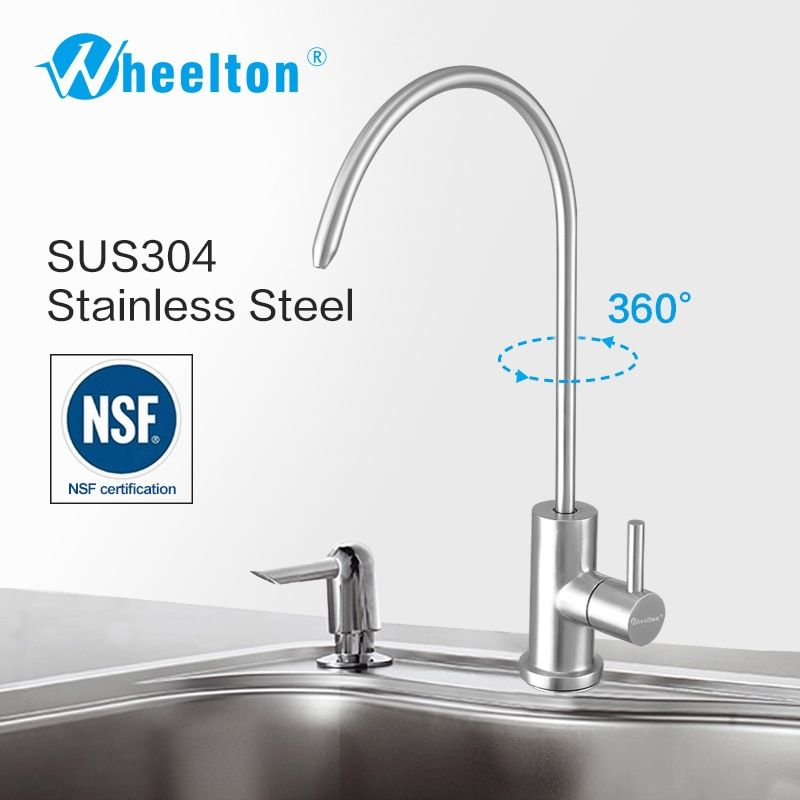 Wheelton RO Faucet sus304 Stainless Steel Lead-free NSF Kitchen Drinking Water Tap For Filter Purify System e.g. Reverse Osmosis