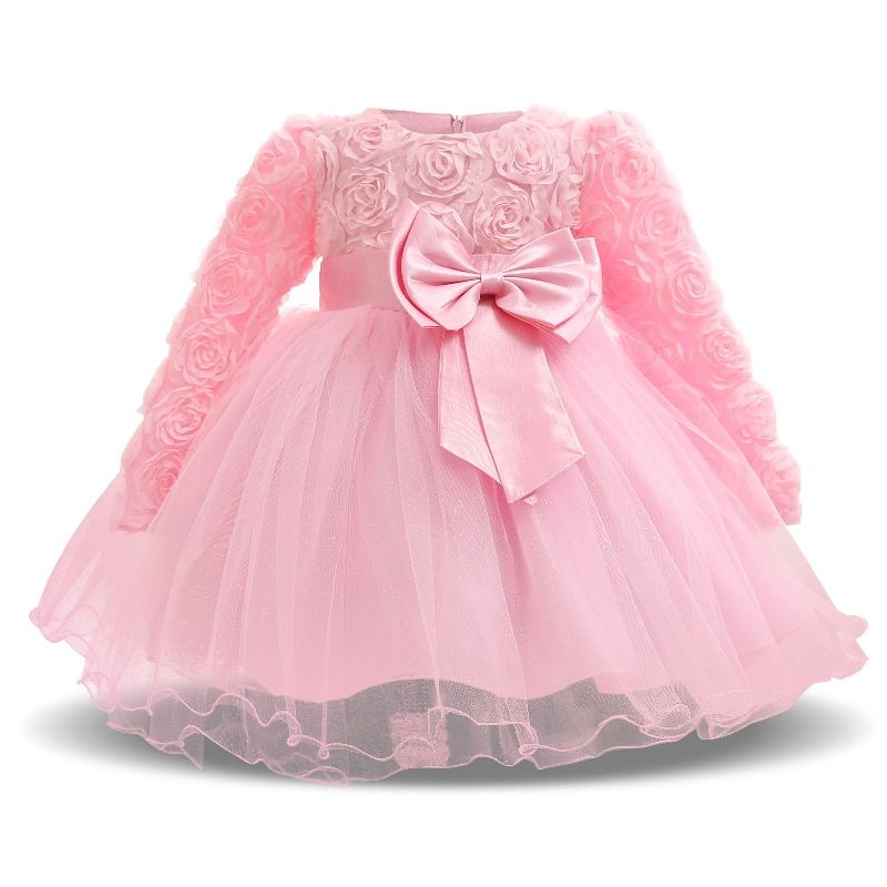 Sweet Pink Newborn Baby Girl Flower Wedding Dress Fancy 1st 2nd Birthday Outfits Infant Party Dresses For Girl Kids Tutu Clothes