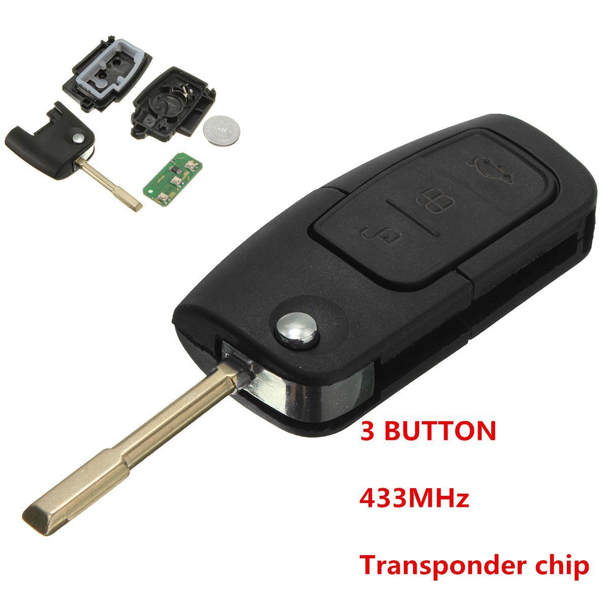 433 MHz 3 Botón Flip Clave Fob Transponder Chip de llave Del Tirón Para Ford Focus 1998-2005 Para MONDEO 2001-2007 TRINSIT 20002