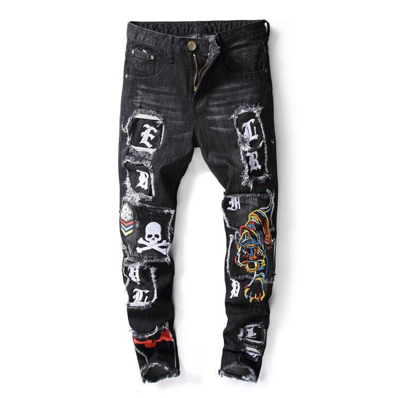 Hi-Street hommes en détresse Biker Jeans crâne Patchwork mode plissé déchiré Denim Joggers noir Slim Fit pantalon avec patchs