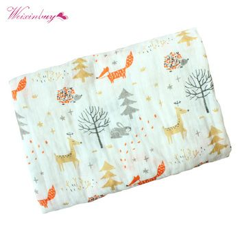 Spring Baby Cotton Blanket Cartoon Fox Print Infant Muslin Swaddle Newborn Baby Props Blankets Photography