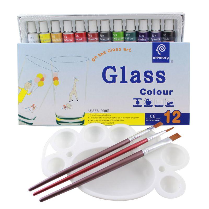 Peinture en verre couleur peinture acrylique Pigments peints à la main 12 couleurs 12 ML ensemble de couleurs