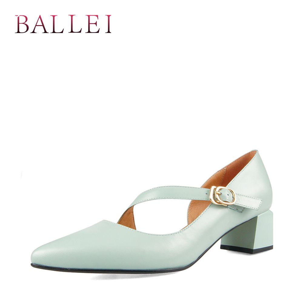 BALLEI Fashion Woman Pumps Luxury High Quality Genuine Leather Classic Buckle Shoe Vintage Slip-on High Square Heel Lady Pump D7