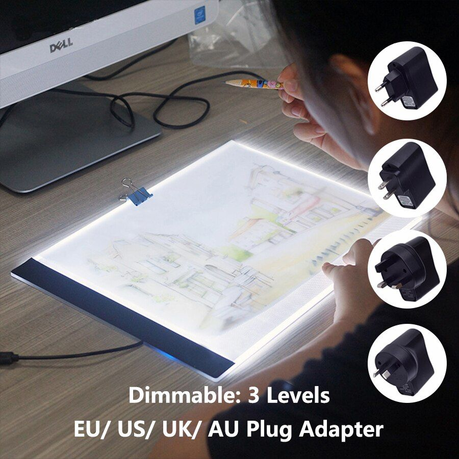 Dimmable Lightpad Diamond Painting Cross Stitch Tools Ultrathin A4 LED USB Light Pad Box Tablet for Drawing Diamond Embroidery