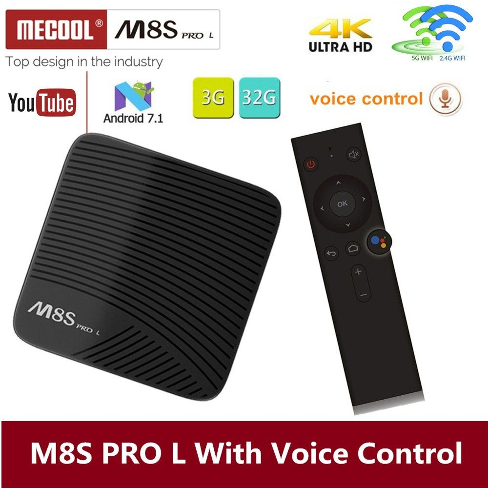 Mecool M8S PRO L 4K TV Box Android 7.1 Smart TV Box 3GB 16GB Amlogic S912 Cortex - A53 CPU Bluetooth 4.1 + HS With Voice Control