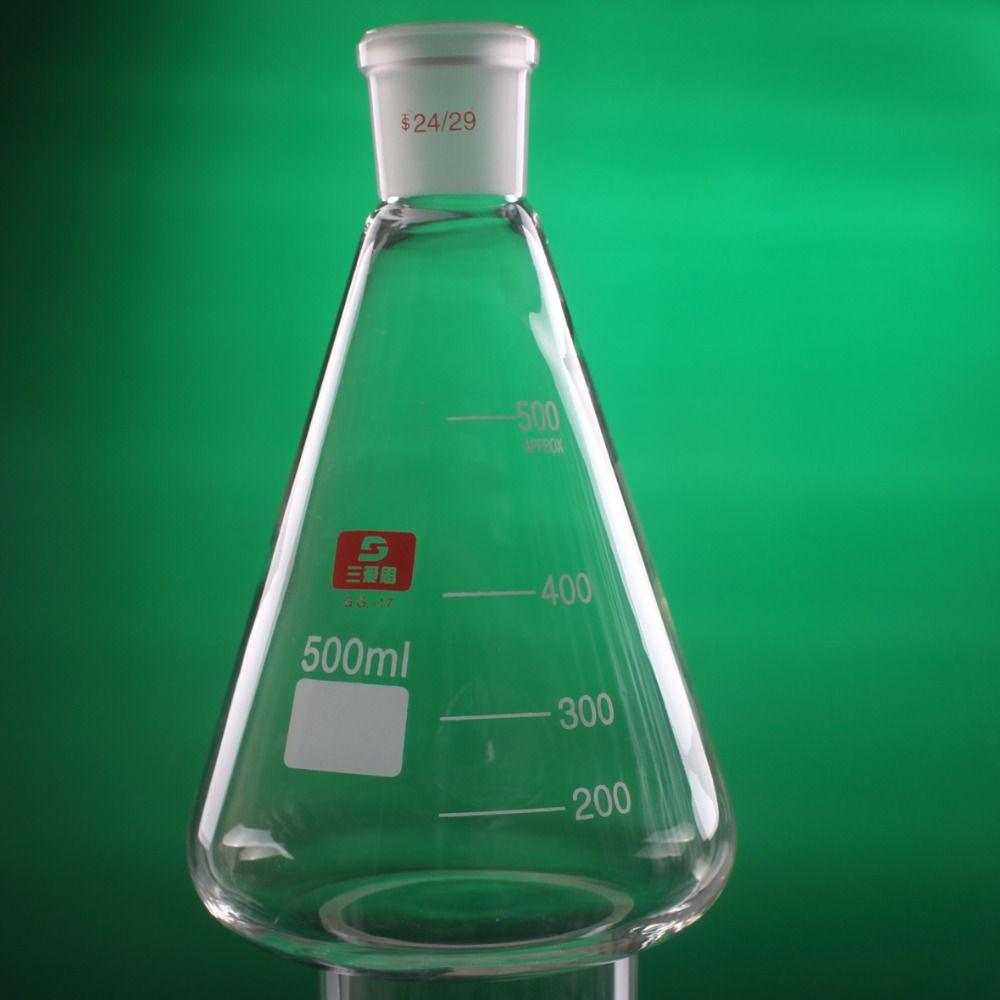 500 ml 24/29 de Alta Borosilicato 3.3 Erlenmeyer De Vidrio, Cristalería De Laboratorio suministros Recipiente cónico