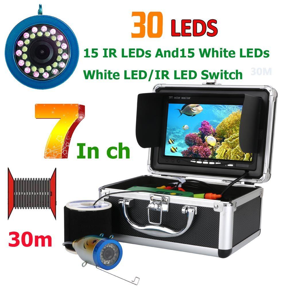 GAMWATER Double Lampe 30 Led 7 Pouces 15 m 30 m 50 m 1000TVL Fish Finder Sous-Marine Pêche Caméra 15 pcs Blanc LED + 15 pcs IR LED