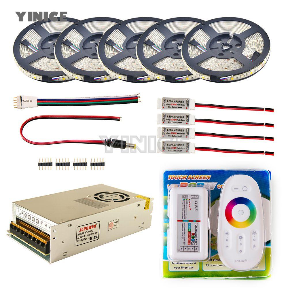 LED Strip set 5m 10m 20m 30m 110v/220v to 12V RGB RGBW Waterproof 5050 Flexible 300led diode tape LED Rope Ribbons Amplifier Kit