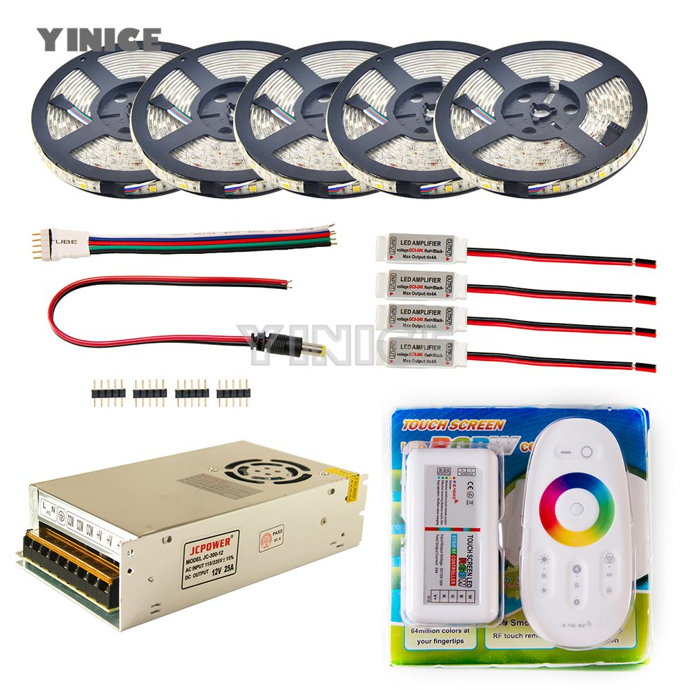 LED Strip set 5m 10m 20m 30m 110v/220v to 12V RGB RGBW Waterproof 5050 Flexible 300led diode tape LED Rope Ribbons Amplifier Kit