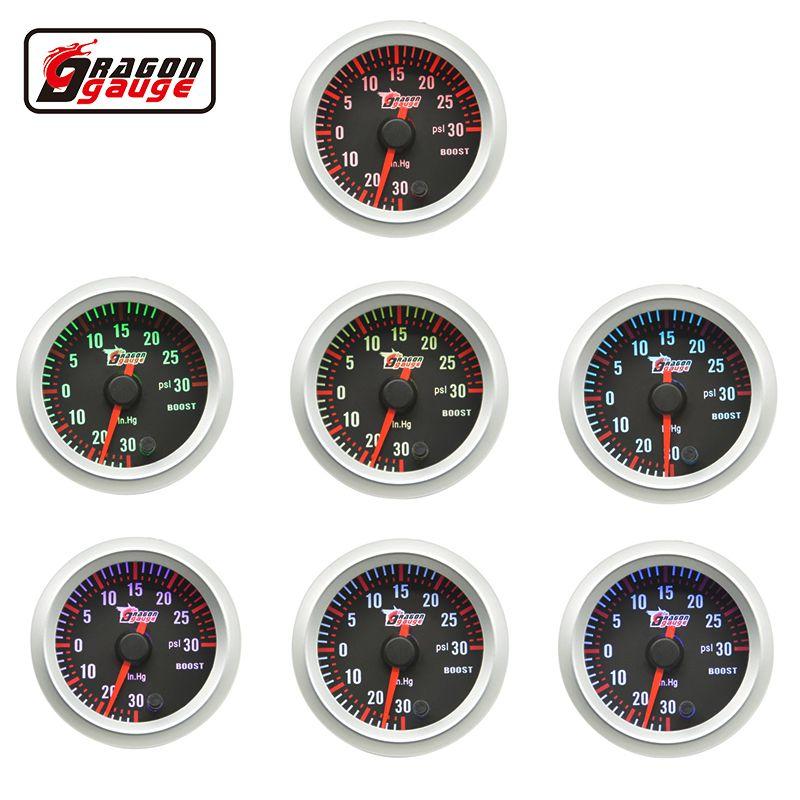 Dragon gauge 52mm 7 Color Blacklight Car Turbo Turbine stepper motor Oil Pressure Gauge Meter Boost gauge -1~2 Bar and 30 PSI