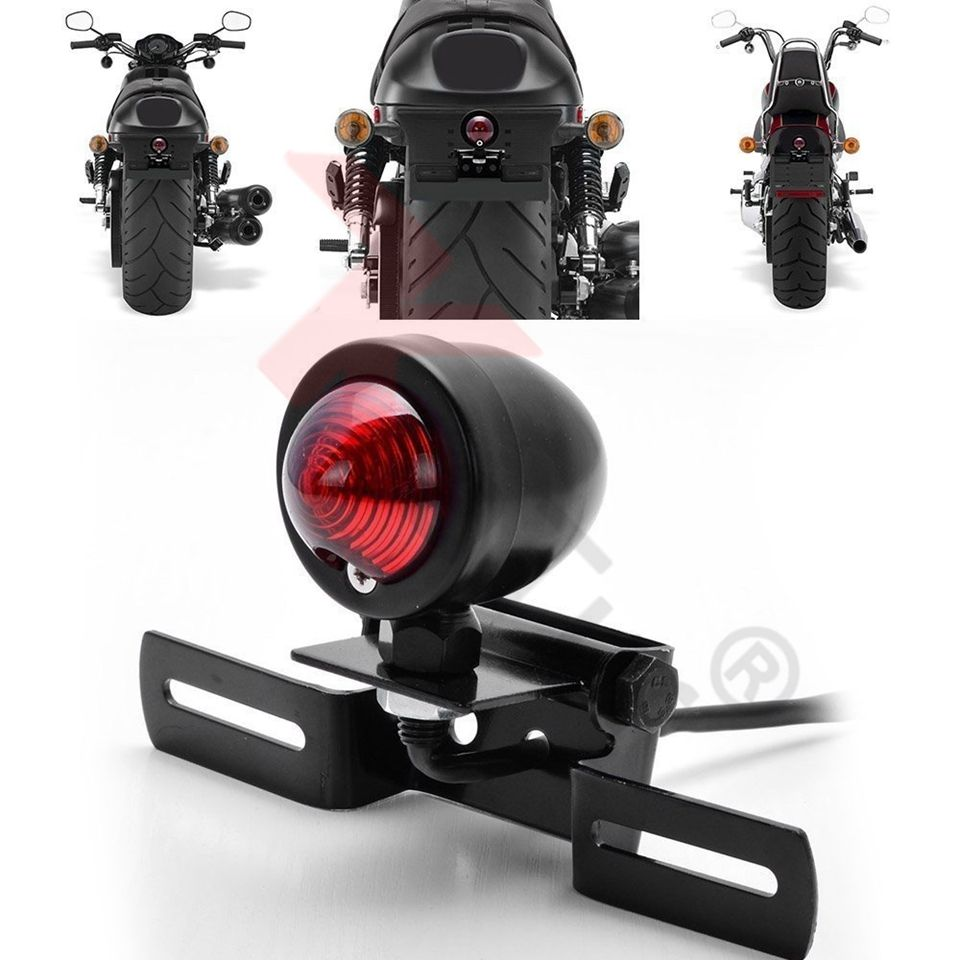 1 Pcs 12 V 10 W Moto Tail Light Stop Licences De Frein Lampe Pour Harley Chopper SU A24, Moto noir Rétro Feu arrière Lampe
