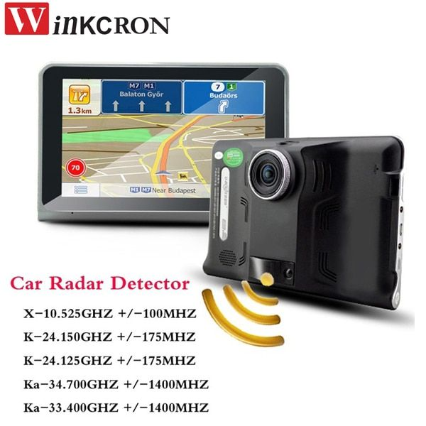 7 inch GPS navigation Android 4.22 Car DVR dash Cam with Radar Detector dual lens Rear View Camera Truck Vehicle 16GB Free Maps